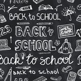 Back to School Supplies Sketchy chalkboard.Seamless pattern Royalty Free Stock Photos