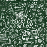 Back to School Supplies Sketchy chalkboard.Seamless pattern Royalty Free Stock Image