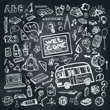 Back To School Supplies Sketchy Chalkboard. Square Stock Photos