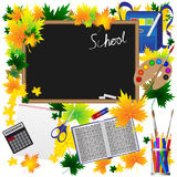 Back to School Supplies Sketchy Doodles with Swirls- Hand-Drawn.Vector Illustration Autumn leaves. Stock Image