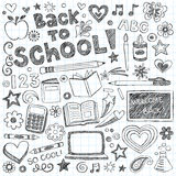 Back to School Supplies Sketchy Doodles Vector Set. Back to School Supplies Sketchy Notebook Doodles with Lettering, Shooting Stars, and Swirls- Hand-Drawn Royalty Free Stock Photos