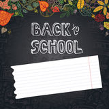 Back to School Supplies Sketchy.Leaves,paper, chalkboard Stock Photography