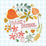 Back to School Supplies Sketchy.Leaves,paper, chalkboard Royalty Free Stock Image