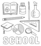 Back to School Supplies Sketchy Notebook Doodles Stock Photos