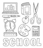 Back to School Supplies Sketchy Notebook Doodles vector illustration