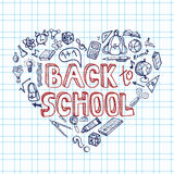 Back to School Supplies Sketchy Notebook.Doodles. Stock Photography