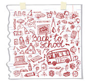 Back to School Supplies Sketchy Notebook.Doodles Stock Photography