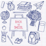 Back to School supplies sketchy notebook doodles with lettering Royalty Free Stock Image