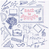 Back to School supplies sketchy notebook doodles with lettering Stock Images