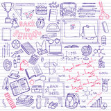 Back to School supplies sketchy notebook doodles with lettering Royalty Free Stock Photography