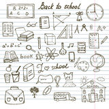 Back to School Supplies Sketchy Notebook Doodles set with Lettering, Hand-Drawn Vector Illustration Design stock illustration