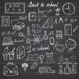 Back to School Supplies Sketchy Notebook Doodles set with Lettering, Hand-Drawn Vector Illustration Design Elements on Lined Sketc Stock Photography