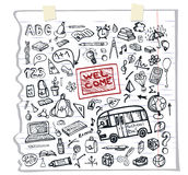 Back to School Supplies Sketchy Notebook.Funny Royalty Free Stock Photos