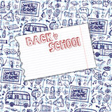 Back to School Supplies Sketchy Notebook pattern. Stock Photography