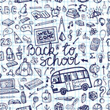 Back to School Supplies Sketchy Notebook.Seamless Royalty Free Stock Photo