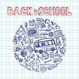 Back to School Supplies Sketchy notepaper.Circle Royalty Free Stock Image