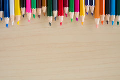 Back to school supplies, stationery colorful pencils accessories background, Top view flat Royalty Free Stock Photo