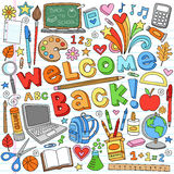Back to School Supplies Vector Design Elements stock illustration