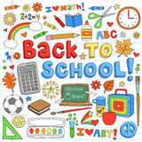 Back to School Supplies Vector Design Elements. Education Back to School Classroom Supplies Notebook Doodles- Hand-Drawn Vector Illustration Design Elements on stock illustration