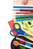 Back to school and supplies on white Royalty Free Stock Images