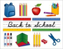 Back to School Supplies Whiteboard. Back to school supplies: backpack, crayons, pencils, sharpener, markers, folders, scissors, apple for the teacher, for royalty free illustration