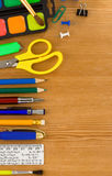 Back to school and supplies on wood Royalty Free Stock Image