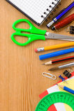Back to school and supplies on wood Royalty Free Stock Photo