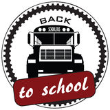 Back to school symbolic. Stamp print with a school bus, back to school symbolic. Vector illustration Stock Images