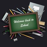 Back to school with table and various tools template royalty free illustration