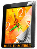 Back to School On Tablet PC. Colorful watch with hands, concept back to school on tablet pc Royalty Free Stock Images