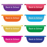 Back to school tag, label, badge, sign, horizontal, vector illustration in flat design Royalty Free Stock Image