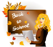 Back to school. The teacher with laptop. Royalty Free Stock Image