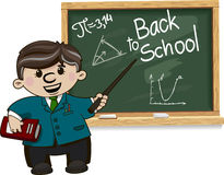 Back to school. Teacher near blackboard - illustration for blog royalty free illustration