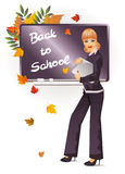 Back to school. The teacher with notebook Stock Photography