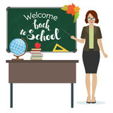 Back to school. Teacher with pointer stand by the blackboard. First of September, Back to school. Vector Stock Photography