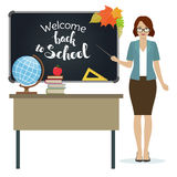 Back to school, Teacher. Teacher with pointer stand by the blackboard. First of September, Back to school. Vector Stock Photo