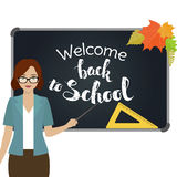 Back to school, Teacher. Teacher with pointer stand by the blackboard. First of September, Back to school. Vector Royalty Free Stock Image