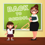 Back to school. The teacher and the schoolgirl are near blackboa. Rd. Vector illustration of a flat design Royalty Free Stock Photo