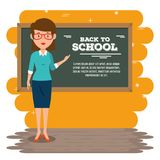 Back to school teacher teaching to her students. Vector illustration graphic design Stock Photos