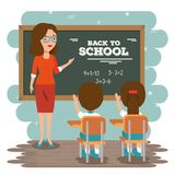 Back to school teacher teaching to her students. Vector illustration graphic design Stock Images