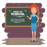 Back to school teacher teaching to her students. Vector illustration graphic design Royalty Free Stock Image