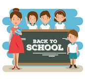 Back to school teacher teaching to her students. Vector illustration graphic design Stock Photo