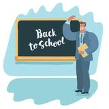 Back to school teacher teaching. Vector cartoon illustration of teaching to his students. Male characters in glasses wave by hand. Backboard with Back to school Royalty Free Stock Photo
