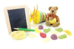 Back to School with Teddy and blackboard Stock Images