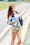 Back to school teen girl outdoor Stock Image