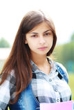 Back to school teen girl outdoor Royalty Free Stock Photography