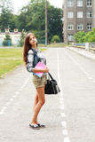 Back to school teen girl outdoor Royalty Free Stock Image