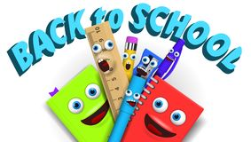 Back to school Template With Funny Cartoon Stationery Stock Images