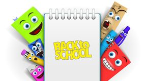 Back to school Template With Funny Cartoon Stationery Royalty Free Stock Photography