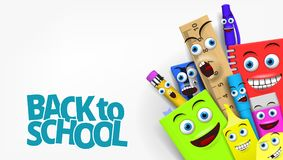 Back to school Template With Funny Cartoon Stationery Royalty Free Stock Photo
